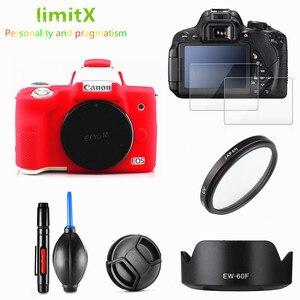 Image 1 - Canon EOS M50 18 150mm lens tam koruma kiti ekran koruyucu kamera kılıfı UV filtre lens hood Cap temizleme kalem hava üfleyici