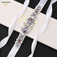 TOPQUEEN S451 Colorful Rhinestone Belt Bridal Sash Belts Gorgeous Bridesmaid Decorative Belts Diamond Applique Belt Wedding Belt