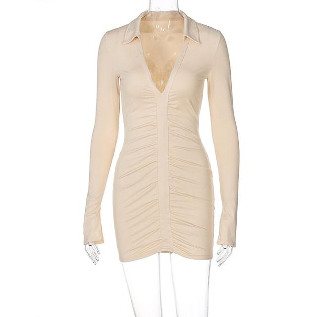 Ruched V Neck Turn Down Collar Skinny Long Sleeve Mini Dress 6