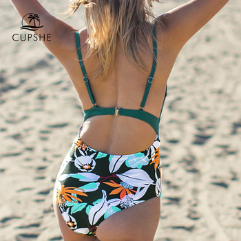 CUPSHE Teal and Floral Scalloped One-Piece Swimsuit Sexy V-neck Women Monokini 2019 Girl Beach Bathing Suit Swimwear 1
