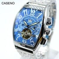 뚜르 비옹 스켈레톤 자동 기계식 남성용 시계 브랜드 럭셔리 밀리터리 스포츠 시계 스테인레스 스틸 남성 시계 CASENO