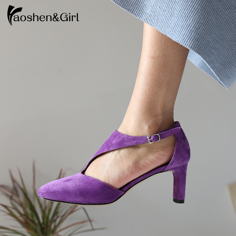 Thick Heel Shoes Pumps Square Toe Wedding Genuine-Leather Fashion Women Girl Footwear
