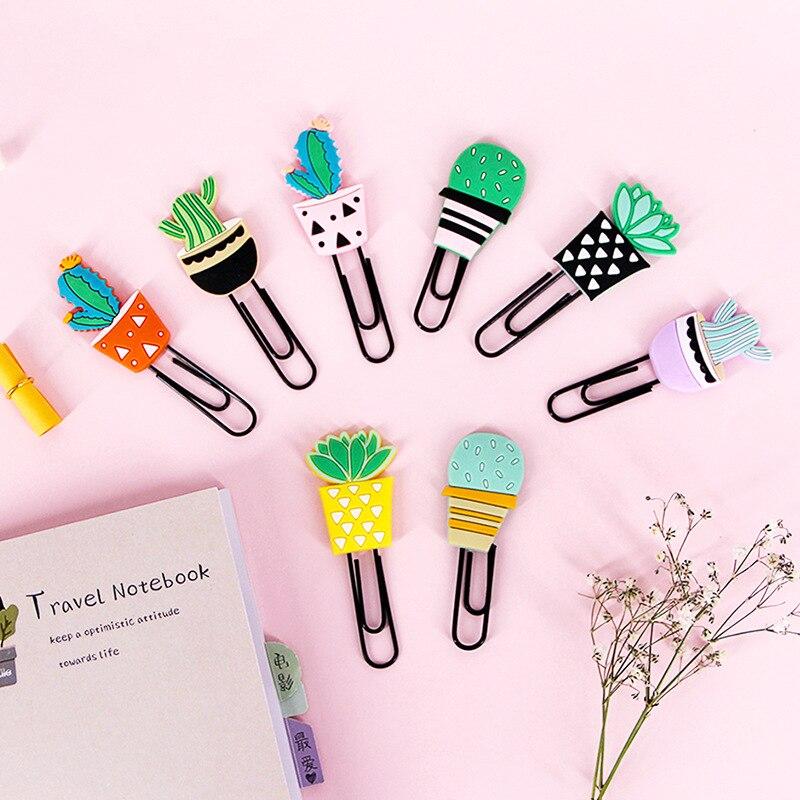 Coloffice 4PCS / Set Of Creative Stationery Cartoon Green Cactus Soft Silicone Color Paper Clip Kawaii Cute Bookmark Design