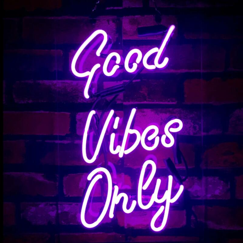 Custom Good Vibes Only Blue White Red Pink Deep Blue Purple Turquoise Green Yellow Glass Neon Light Beer Bar