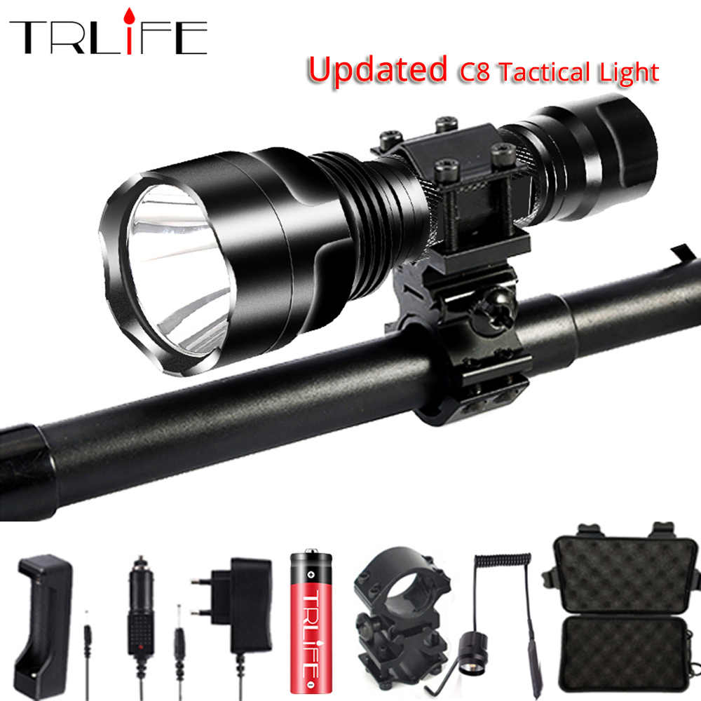 Linterna LED Flashlight L2 T6 10000LM Tactical Flashlights Aluminum Hunting Torch 18650 Flash Light Lamp C8 Powerful Focus Lante