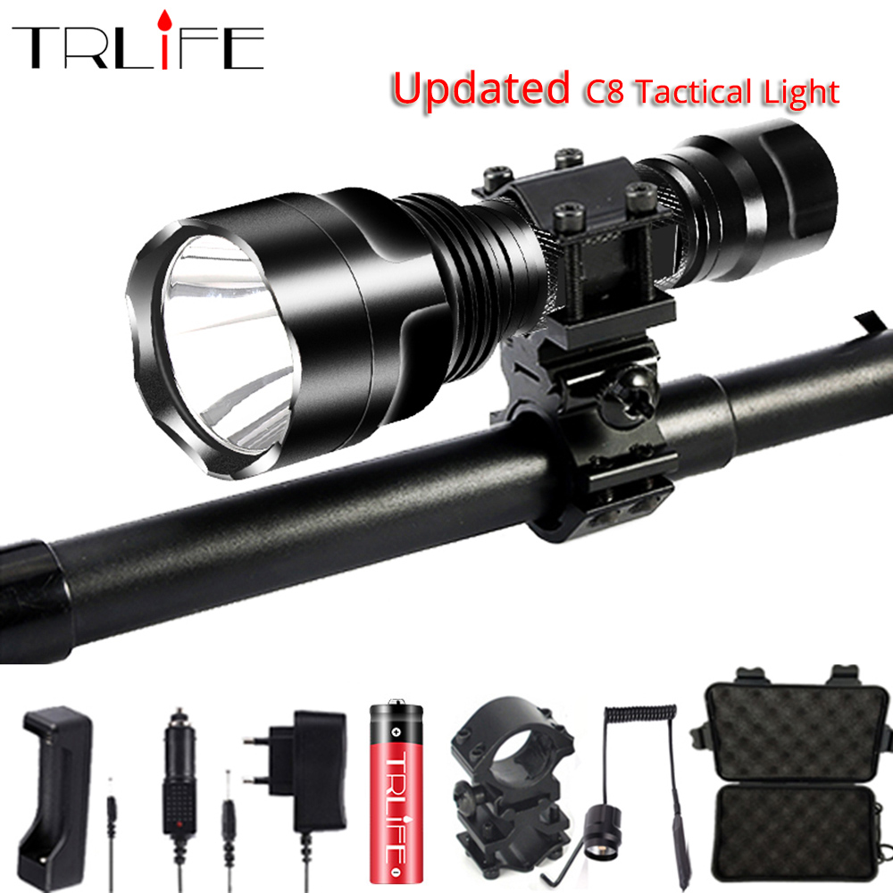 Linterna LED Flashlight L2 T6 10000LM Tactical Flashlights Aluminum Hunting Torch 18650 Flash Light Lamp C8 Powerful Focus Lante