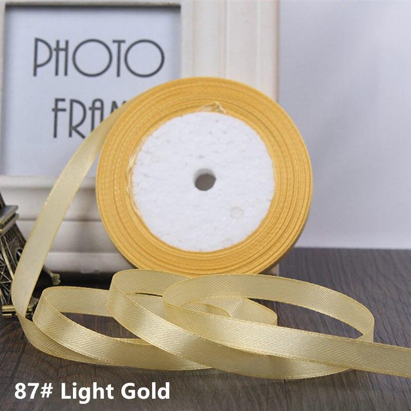 25 ярдов/рулон 6 мм 10 мм 15 мм 20 мм 25 мм 40 мм 50 мм шелковые атласные ленты для рукоделия бант ручной работы подарочная упаковка вечерние свадебные декоративные - Цвет: 87 light gold