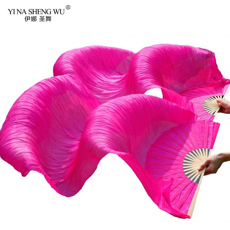 1pair/1pc Imitation Silk Belly Dance Veil Fans Bamboo Ribs Handmade Dyed Performance Long Fan Belly Dancing Imitation Silk Fans