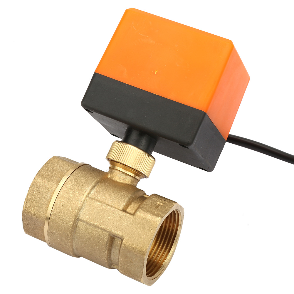 New DC <font><b>12V</b></font> 2 Way 3 Wire Brass <font><b>Motorized</b></font> <font><b>Ball</b></font> <font><b>Valve</b></font> Electrical <font><b>Valve</b></font> DN32 G1-1/4 Inch Thread 90 Degree Rotation For Water Gas Oil image