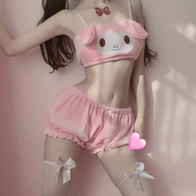 Long Ear Doggy Bra and bloomers Pink And White Kwaii Velvet Tube Top And Panties Set For Girls Sexy AnimeCosplay Costumes