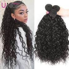 Unice cheveux 1/3/4 paquets eau vague péruvienne cheveux armure faisceaux vague cheveux faisceaux 100% cheveux humains eau vague Remy cheveux