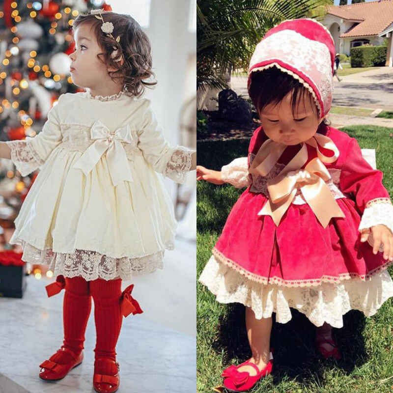 2020 Princess Girl Dress Baby Kids Girls Toddler Princess Pageant Party Velvet Tutu Dress Lace Bownot Dresses