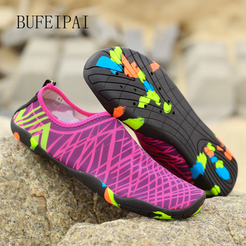 Buty letnie męskie oddychające buty do wody damskie trampki gumowe kapcie plażowe dla dorosłych buty trekkingowe sandały pływackie skarpety nurkowe tanie i dobre opinie BUFEIPAI Dobrze pasuje do rozmiaru wybierz swój normalny rozmiar Spring2017 elastyczna opaska Profesjonalne oddychająca