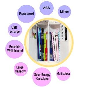 Image 4 - NBX קלמר סיסמא דלת כפולה ספר עבור בנות ורוד גדול קיבולת עט תיבת חמוד קוסמטיקה קופסות אחסון תיק