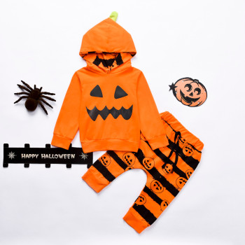 Orange Tracksuit Halloween Toddler Kid - Hooded Pumpkin