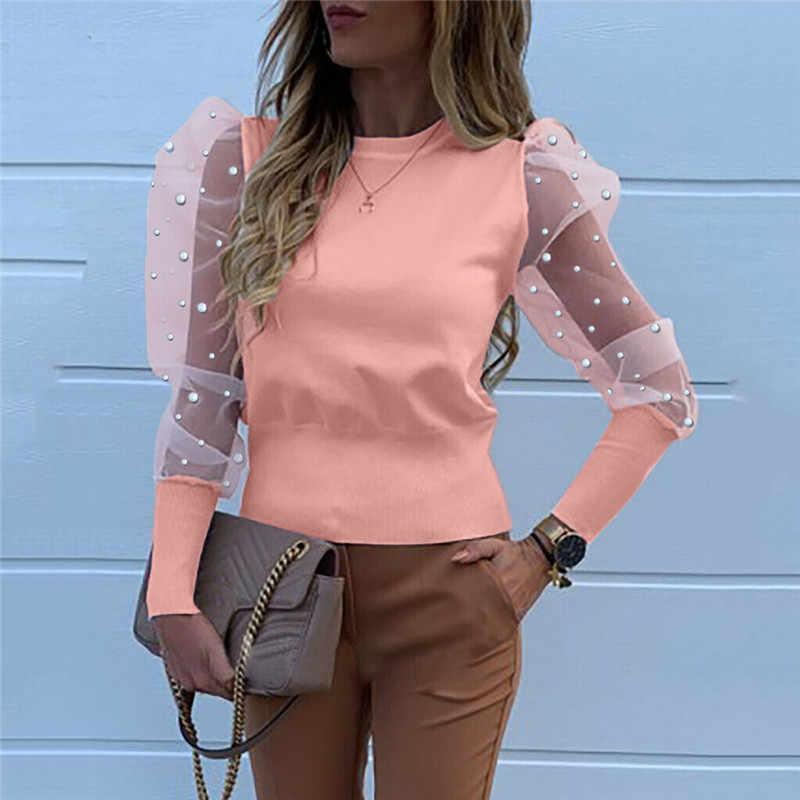 Women Mesh Sheer Puff Sleeve Jumper Slim Fit Sweater Ladies Casual Pullover Tops