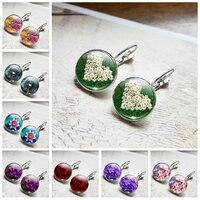 Daisy Rose Sakura boucles d'oreilles Style Simple fleurs boucles d'oreilles en verre Cabochons bijoux bricolage boucle d'oreille femmes amant cadeaux boucles d'oreilles