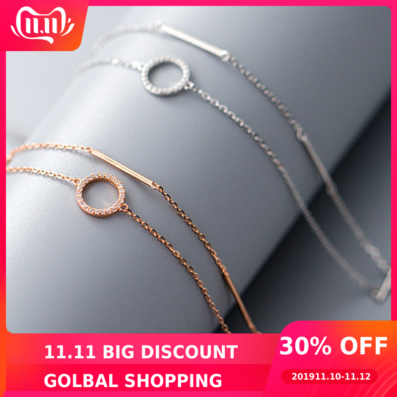 Circle Bracelets 925 Silver Layered Jewelry Long Bar Rose Gold Bangle Boho Vintage Minimalism Indian Jewelry Bangles for Women