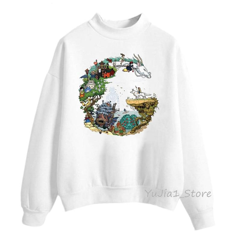 Japanese Anime Studio Ghibli Hoodies Women Woman Sweatshirts Harajuku Kawaii Totoro Hoodie Spirited Away Streetwear Funny Jumper