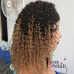 Image 3 - Curly Human Hair Wigs 4/27 Ombre Color Deep Curly Headband Half Wig Human Hair Brazilian Full Machine Made Wig Ever Beauty Remy