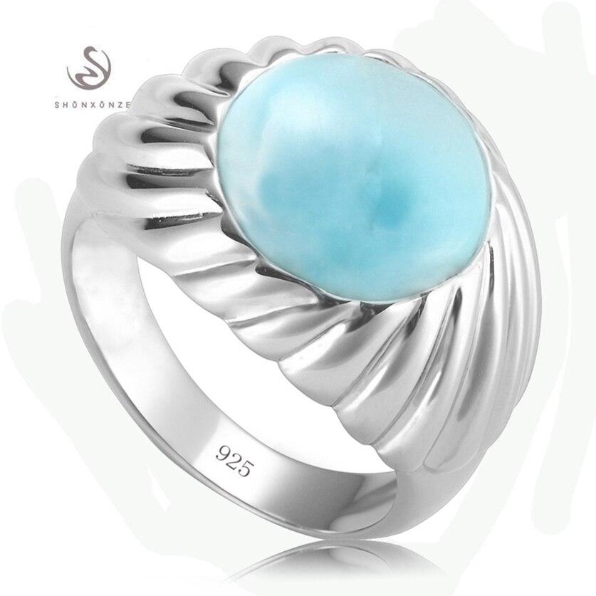Eulonvan mignon luxe Larimar pierre naturelle 925 en argent sterling bagues de mariage bijoux et accessoires pour femmes S-3802 taille 6 7 8 9