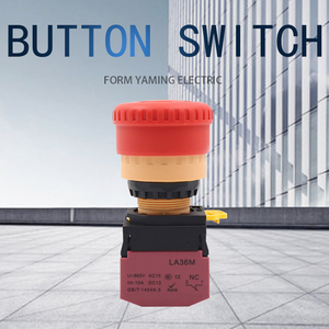 22mm Latching Lock Push Button Switch Elevator Emergency Stop LA36M-11ZS Red Mushroom Power Supply NO NC Silver Contact 10A
