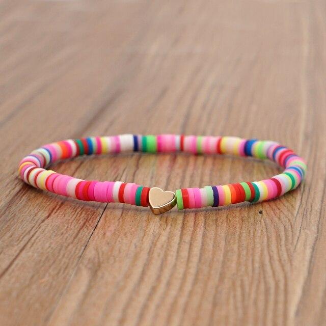 Go2Boho Heart Charm Bracelets Polymer Clay Bracelet For Female Summer Heishi Disc 4mm Beaded Braclets Women 2021 Fashion Jewelry 3