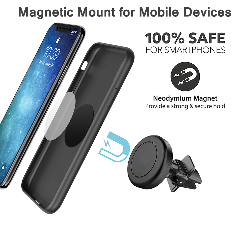 for Cell Phones and Mini Tablets with Fast Swift-Snap Technology Universal Air Vent Magnetic Car Mount Phone Holder Magnetic Mount