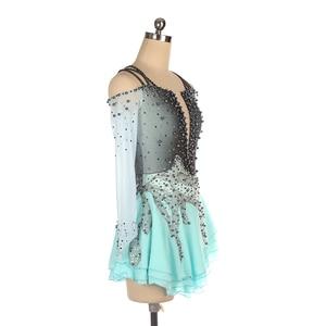 Image 5 - Nasinaya Figure Skating Dress Customized Competition Ice Skating Skirt for Girl Women Kids Gymnastics Performance Gray Gradient