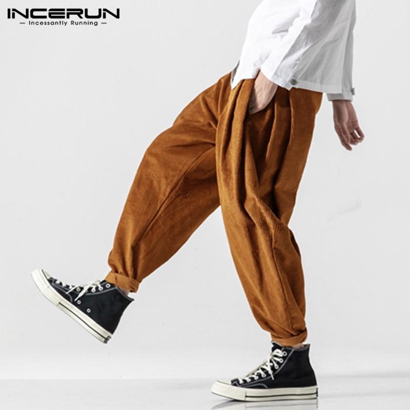 INCERUN Men Women Casual Harem Japanese Trousers Retro Cotton Linen Pants Slacks