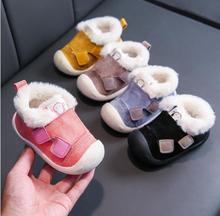 2020 zimowe dziecięce buty dla malucha buciki chłopięce antypoślizgowe buty dziecięce ciepłe pluszowe chłopięce śniegowe buty Outdoor soft sole sneakers tanie tanio Flock Unisex CN (pochodzenie) W wieku 0-6m 7-12m 13-24m 25-36m 3-6y Zima Zwrócił-over krawędzi Buty śniegu Mieszkanie z