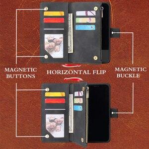 Image 2 - 高級フリップマルチカードファスナー財布革iphone 12プロマックスケースiphone x xs xr 6 6s 7 8プラス11 12ミニケース