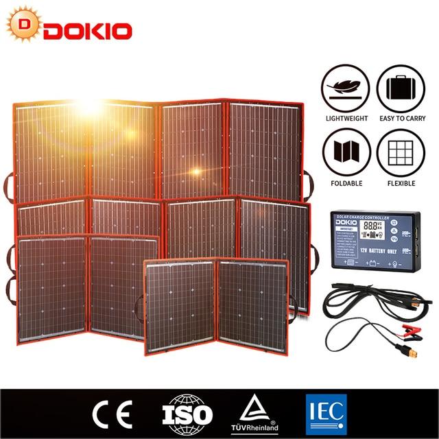 Dokio Flexible Foldable Solar Panel High Efficience Travel & Phone & Boat Portable 12V 80w 100w 150w 200w 300w Solar Panel Kit