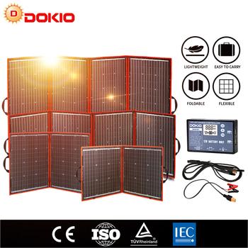 Dokio elastyczne składany słoneczny fotovoltaica Panel dla podróże i cell telefon i power bank i łódź 12V 80w 100w 150w 200w 300w wysoka wydajność przenośny solarny panele + USB controller zestaw tanie i dobre opinie CN (pochodzenie) Panel słoneczny None Difference FFSP-80M FFSP-100M FFSP-150M FFSP-200M FFSP-300M Monokryształów krzemu