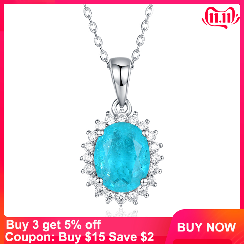 Kuololit Paraiba Tourmaline Gemstone Set Pendant For Women Solid 925 Sterling Silver Necklace Engagement Bride Gift Fine Jewelry