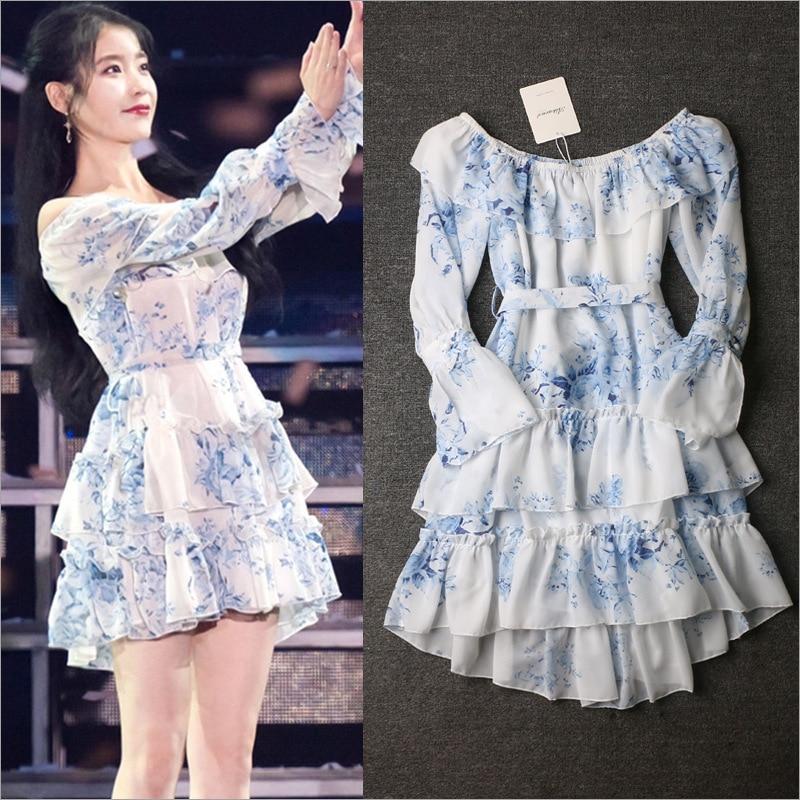 Celebrity Style IU Lee Ji Eun Elegant Sweet Chiffon Dress Women Butterfly Sleeve Slash Neck Dresses Kpop Girls Clothes