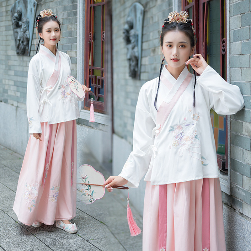 Embroidery Dance Costumes Hanfu Women Chinese Folk Fairy Dress Singers Performance Clothing Ladies Festival Rave Outfit DC3182
