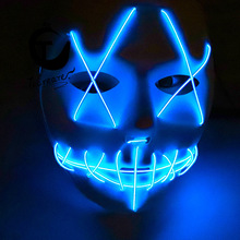 LED Mask Grimace Horror Scary Seam Mouth Fork Eye Halloween Glowing Carnival Mask Masquerade Masks led mask  purge mask high quality carnival circus creepy giggles halloween clown head mask