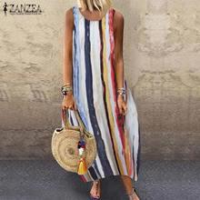 ZANZEA Vintage Striped Sundress Women Summer Dress Sleeveless Cotton Linen Vestido Female Bohemian Beach Dresses Loose Sarafans