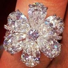 FDLK moda elegante blanco Flor de cristal anillo de mujer, joyería, accesorios de lujo Zircon anillo de compromiso regalo de fiesta