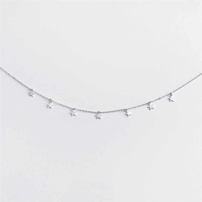 Năm 2019 Thời Trang Boho Mặt Dây Chuyền Collier Femme Phối Xích Collares De Moda Vòng Cổ Ngôi Sao Nữ Choker Kolye Vàng Bạc Cổ