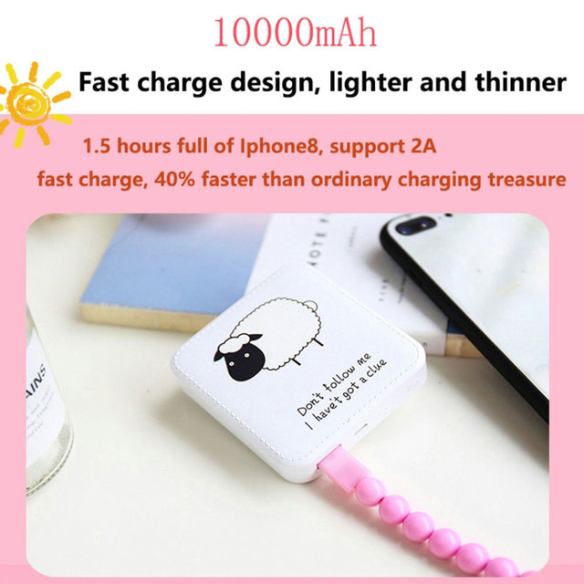 KISSCASE Cute Mini Power Bank 10000mAh USB External Battery Charger For iPhone Xiaomi Portable Powerbank For Samsung Poverbank 2