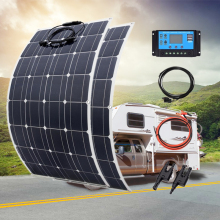 200W 100W Flexible Solar Panel with 20A Solar Controller Module Cable Car for RV Boat Home Roof Vans Camping 12V Solar Charger leory 12v 20w semi flexible solar panel monocrystalline solar city chip with 300cm cable suitable for car rv boat ship batteries
