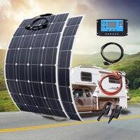 200W 100W Mono Flexible Solar Panel 20A/10A Solar Controller Module for Car RV Boat Home Roof Vans Camping 12V 24V Solar Battery