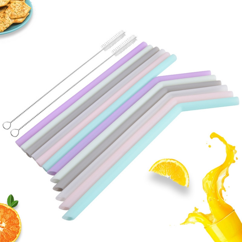 Силиконовая утолщенная соломенная многоразовая Мягкая изогнутая соломинка прямая соломинка Складная цветная