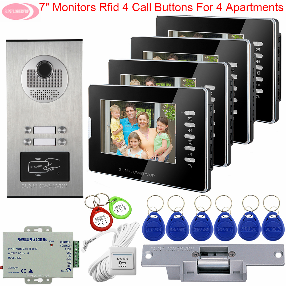Video Intercom for Apartments Video Intercoms for a Private House Access Control Monitoring Camera System + Electric Strike Lock