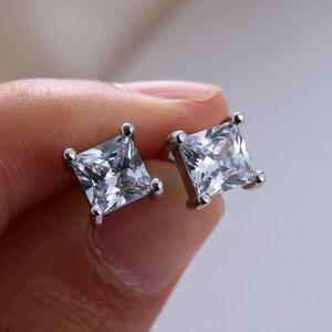 1 пара, новые белые квадратные серьги-гвоздики с блестящим цирконием, для мужчин и женщин, Свадебные обручальные модные ювелирные изделия, подарки