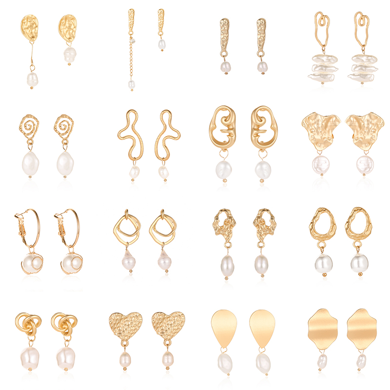 Women Simple Cool Metallic Gold Geometric Irregular Round Square Natural Freshwater Pearl Hollow Ear Stud