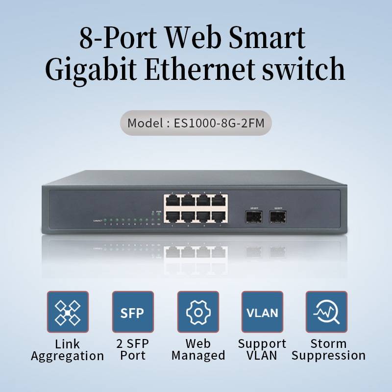 8-Port Gigabit Ethernet Switch With 2 SFP  10 Port Managed Switch