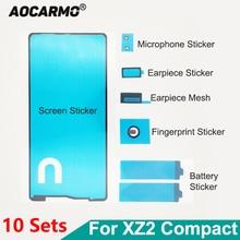 Aocarmo 10 conjuntos conjunto completo adesivo para sony xperia xz2 compacto mini xz2c h8324 lcd tela de exibição da bateria adesivo orelha alto falante malha